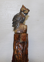 Custom walking stick by Stanley D. Saperstein Artisans of the Valley Owl on Diamond Willow