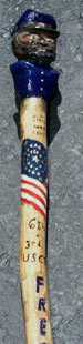 Custom Civil War Walking stick staff and bust