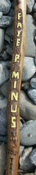Custom Hand Carved Walking Stick Historic Features - Detail Closeup Embossing Name