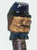 Custom Civil War Walking stick Soldier Bust